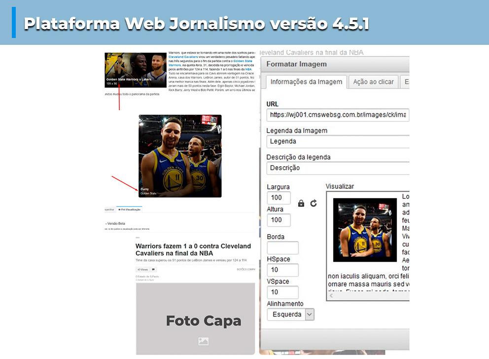 Novos recuros na versão 4.5.1 da plataforma Web Jornalismo
